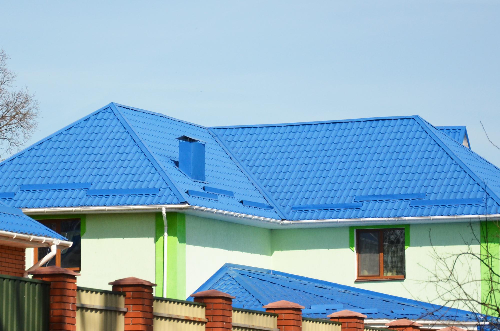 металлочерепица синяя фото домов идеальный способ