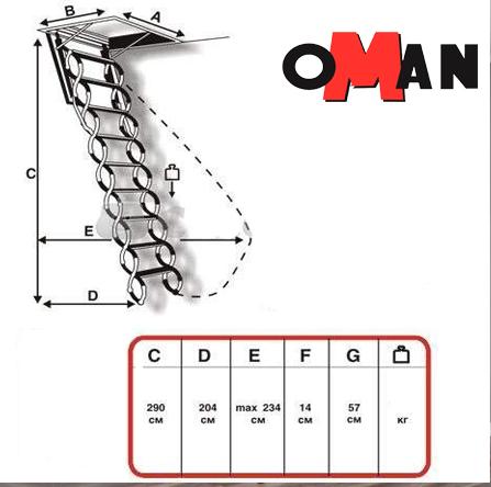 Чердачная лестница Oman FLEX TERMO METAL BOX