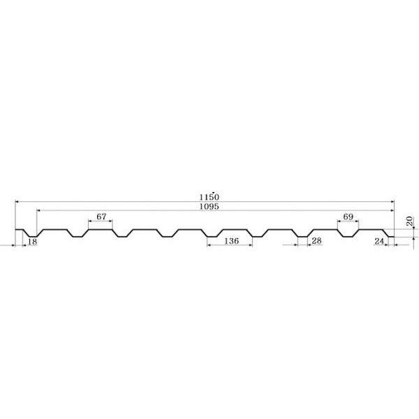 Профнастил ГП-20 РЕ 0,40мм, Китай