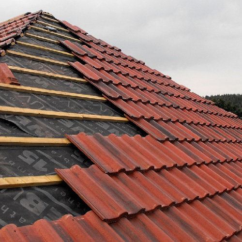 Монтаж натуральной черепицы – средняя крыша (только кровельное покрытие)