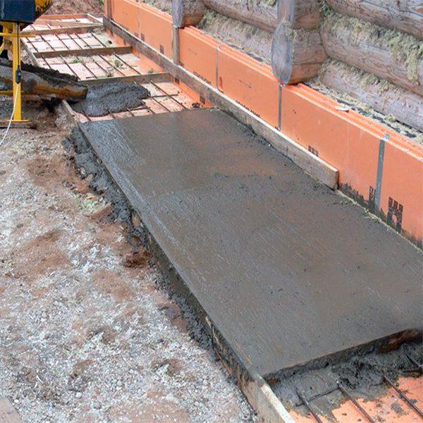 Строительство монолитной отмостки с армировкой шириной от 0,5 м до 1 м
