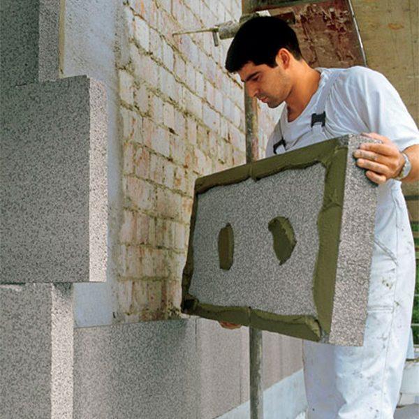 Фасадное утепление экструдером 50 мм (декор: тонированная штукатурка)