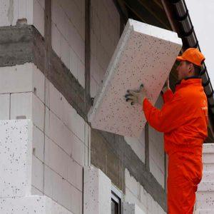 Работы по утеплению фасада экструдером 50 мм (декор- структурная краска)
