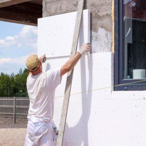 Утепление фасада пенопластом 100 мм (декор- структурная краска)