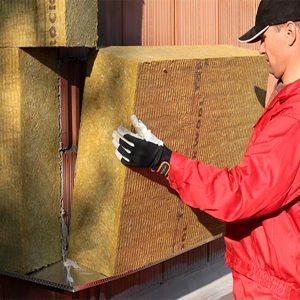 Фасадное утепление минеральной ватой 100 мм (декор: тонированная штукатурка)