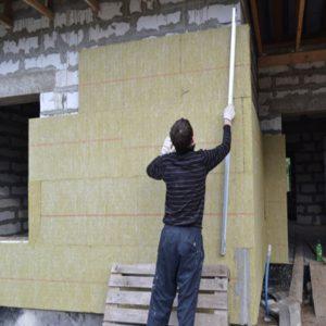 Утепление фасада минеральной ватой 150 мм (декор- структурная краска)