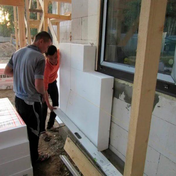 Фасадное утепление пенопластом 150 мм (декор- структурная краска)